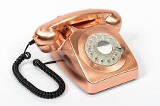 GPO 746 Metallic Bronze Retro Vintage Style Desk Phone with Working Rotary Dial
