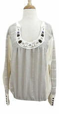 FREE PEOPLE scoop neck peasant top S jewel crochet trim Boho blouson