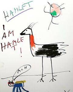 #YOOLYUS UNIKAT ORIGINAL HANDSIGNIERT GRAFIK  COMICS  STREET  HAMLET POP 2231