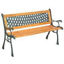 Banc banquette mobilier meuble de jardin parc terrasse en bois et fonte roses