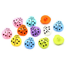 The Bead And Button Box - 10 Acrylic Ladybird Buttons 16mm