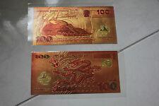 2000 100 YUAN China  Dragon Gold Foil souvenir note