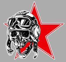 TETE DE MORT DRAPEAU URSS CCCP MIG SOVIET 9cm AUTOCOLLANT STICKER MOTO SC014