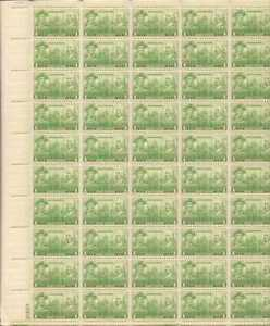 US Stamp - 1936 1c Navy, John Paul Jones - 50 Stamp Sheet - Scott #790