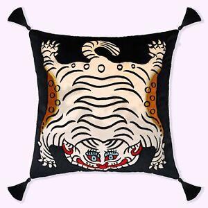 Tibetan Tiger Black Handmade Embroidered Decorative Throw Pillow Cushion Cover