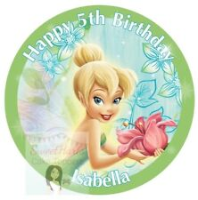 TINKERBELL FAIRY CAKE TOPPER DECORATION ROUND PERSONALISED EDIBLE PRINTED ICING