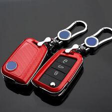 Carbon Fiber Red Key Cover case holder for Volkswagen VW Golf 7 mk7