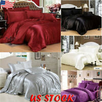 Ice Silk Soft Satin King Queen Twin Size Quilt Cover Sets Bed Sheets Bedspreads