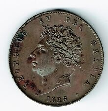 GREAT BRITAIN 1826 1/2 HALF PENNY KING GEORGE IV EF/AU CONDITION SEE PICTURES
