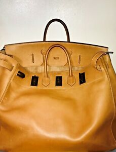 Hermes 50cm leather HAC used bag worn corners scratches u stamp 1991 patina chic