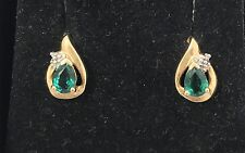 Emerald & Diamond Accent 10K Yellow Gold Earrings