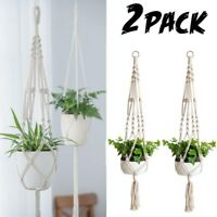 2 Pack Plant Hanger Flower Pot Plant Holder Large 4 Legs Macrame Jute 41 Inch US