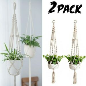 2 Pack Plant Hanger Flower Pot Plant Holder Large 4 Legs Macrame Jute 41 Inch US
