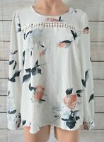 Miracle Top Tunic Shirt Blouse Size 12 Medium White Pink Blue Long Sleeve
