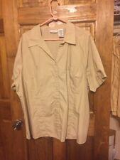 Women sz 22W/24W Shirt SS tan neutral color button down 3X WHITE STAG Woman GUC