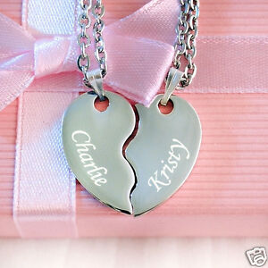 Split Heart Pendant with Necklace Personalised Engraved w text Father's day