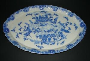 Chinese Export Blue & White Porcelain Oval Serving Platter Tray 14 3/4""