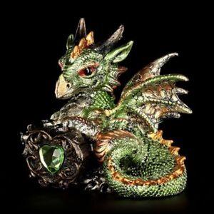 Drachen Figur - Malachite mit Diamant - Fantasy Baby Dragon Gothic Deko