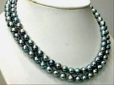 """TAHITIAN REAL BLACK GREEN PEARL NECKLACE 14K 35"""" 9-10MM"""