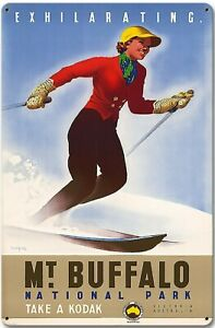Skiing Mt Buffalo Metal Sign Australia Snowboard Snow Sports Vintage Retro USA
