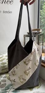 Handmade Lined Tote Bag Shoulder Shopping Bag With Inside Pocket Rabbit Hares