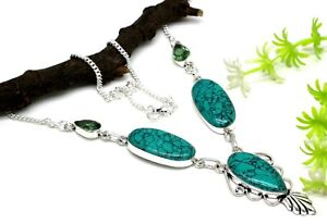 925 Sterling Silver Green Turquoise &Amethyst Gemstone Jewelry Necklaces S-17-18