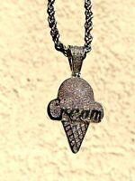 Men's Icy 925 Silver Finish Ice Cream Cone Icecream Pendant Rope Chain Stamp