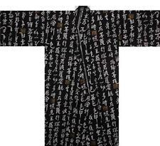 "Japanese Men's Yukata Kimono Robe Kanji Made in Japan 58"" #M EK242"