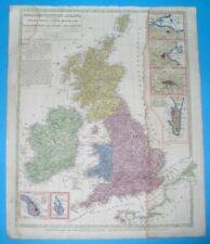 1845 UNUSUAL ORIGINAL MAP IRELAND ENGLAND SCOTLAND WALES LONDON GIBRALTAR MALTA