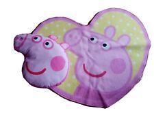 PEPPA PIG LOVEHEART SHAPED WASHABLE NON-SLIP RUG 70 x 80cm & CUSHION FREE P&P