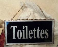 Plaque de porte «toilettes»en verre