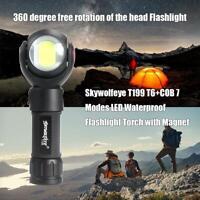 Skywolfeye T199 T6+COB 7 Modes LED Waterproof Flashlight Torch Light W/ Magnet