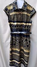LIZ CLAIBORNE sz 10 yellow and black printed dress