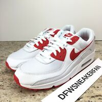 Nike Air Max 90 White Red Men's 7.5 Shoes CT1028-101 New