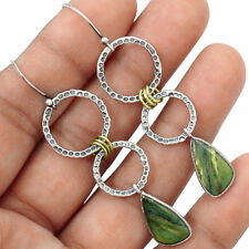 Jade Nephrite Green Two Tone Gold Circle Drop Earrings 925 Sterling Silver New