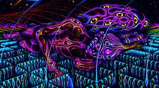 UV reactive psychedelic backdrop, psy trance decor, visionary trippy uv art glow