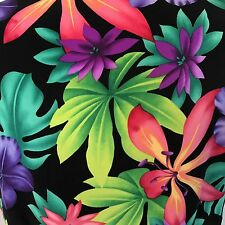 Cherokee Tropical Flowers Black XS Polyester V neck Side Vents Double Pockets