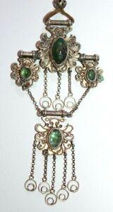 Vintage emerald cabochon large statement silver pendant necklace Norwegian?