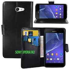 BLACK WALLET CARD SLOT stand GEL CASE FOR SONY XPERIA M2 UK FREE DISPATCH