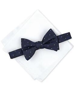 Alfani Men's Navy Pre-Tied Dot Bow Tie & Solid Pocket Square Set OS