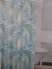 "Caro Tropical Frond Seaglass Fabric Shower Curtain 72"" x 72"" NIP"