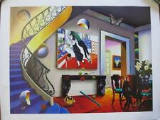 """Ferjo """"Dining with Chagall"""" Giclee Canvas 32x24 Hand Signed/# Surreal Artwork"""