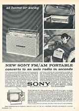 1966 Sony Portable AM FM Radio Original Advertisement Car Print Ad J355
