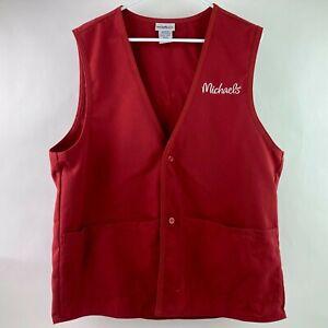 Michaels Store Associate Work Uniform Vest Unisex Button Red Style 13414 A2 A2