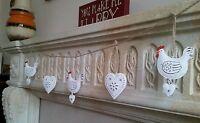 Bunting Garland Cream White Chicken Hen & Hearts Metal Hanging Decoration
