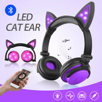 Girls Wireless Bluetooth Cat Ear Headband LED Lights Headphones Earphone Headset