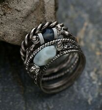 Anthropologie Antique Silver Natural Stone Knuckle Rings - Set of 5 **NEW**
