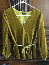 J Crew Faux-wrap top in drapey velvet Gold Women's Size 4 NWT