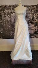 Designer Lace up Sequinned Gown-Train  (White-Size 8) Wedding, Beach Wedding etc