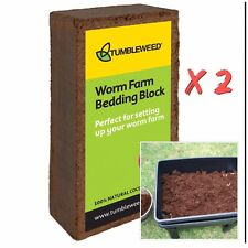2x Worm Farm Bedding Block 100% Natural Coconut Fibre Coir Compost Bin Moisture
